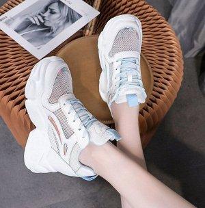 Женские высокие кроссовки, цвет голубой/белый