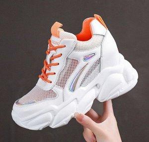 Женские высокие кроссовки, цвет оранжевый/белый