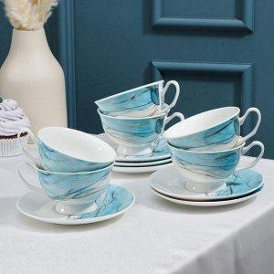 Сервиз чайный Magistro «Мраморный бриз», 6 чашек 200 мл, 6 блюдец d=14 см