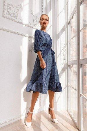 Платье Платье из лёгкого текстиля Ниагара очень нежное и воздушное. Рукав 3/4 собран на резинку, широкая рюша на юбке зрительно уравновешивает образ. Летящий силуэт в романтичном сочетании глубокого ц