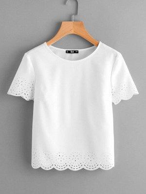 Белая Блуза С Коротким Рукавом И Лазерной Отделкой