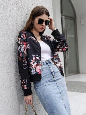 Куртка бомбер на молнии с цветочным принтом