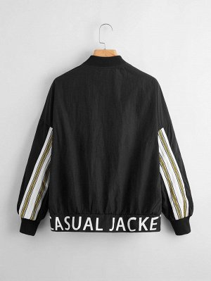 Куртка с текстовым рисунком и полосками