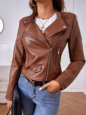 Куртка-мото на молнии из искусственной кожи