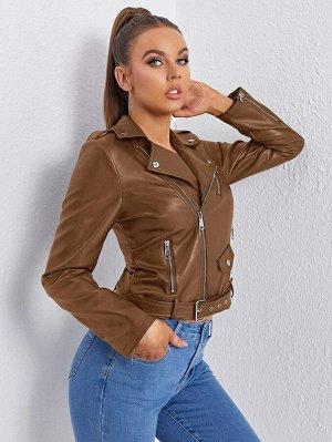 Куртка мото на молнии с поясом