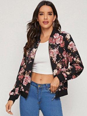 Куртка-бомбер с цветочным принтом