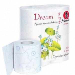 """Maneki Бумага туалетная """"Dream"""", с ароматом утренней свежести, 3 слоя, 4 рулона"""