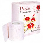 """Бумага туалетная """"Maneki"""", серия Dream, 3 слоя, 167 л., 23 м, с тиснением, ароматизированная, 4 рулона/упаковка"""