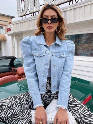 Необработанный низ Одноцветный Элегантный Джинсовые куртки и пальто