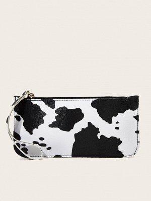 Сумка-клатч с коровьим узором и ремешком