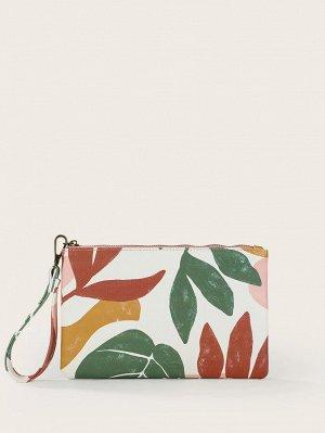 Сумка-клатч с рисунком растений