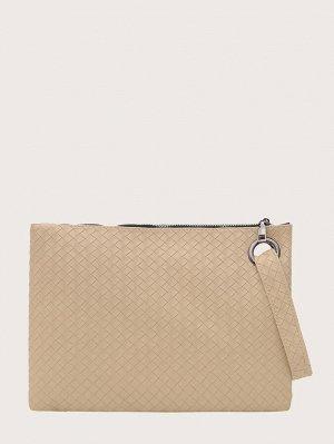 Минималистская плетеная сумка-клатч с ремешком