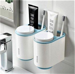 Подвесной органайзер для зубных щеток, белый/голубой