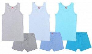 Комплект для мальчика 3341 (майка, трусы-боксеры), цвета в ассортименте (серый, бирюзовый, голубой)