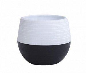 Кашпо, 1,5 л, пластик, комбинированный черный-белый, ДУЭТ