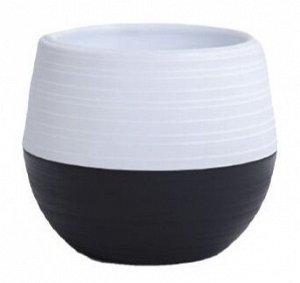 Кашпо, 2,5 л, пластик, комбинированный черный-белый, ДУЭТ