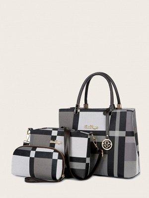 Двойная ручка Контрастный цвет Модный Набор сумок