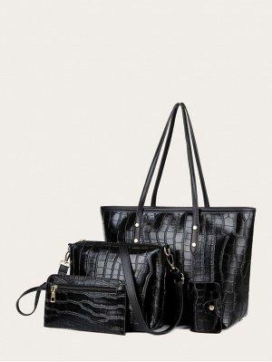 4шт набор сумок с крокодиловым узором