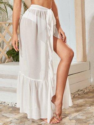 Прозрачная накидка-юбка на запах без бикини