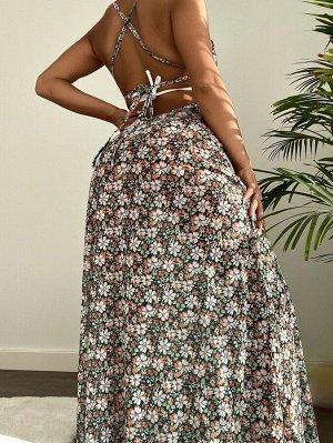 Платье-накидка с цветочным принтом
