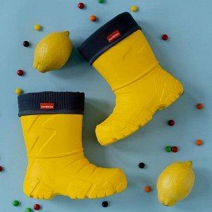 Сапоги детские Nordman Kids со съемным флисовым утеплителем желтые