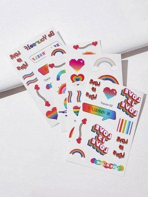 4 листа LGBT наклейка-тату в полоску радуги