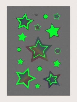 Светящаяся наклейка татуировки с рисунком звезды 1 лист