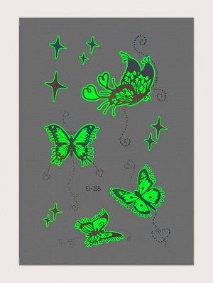 Светящаяся наклейка татуировки с рисунком бабочки 1 лист