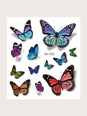 Наклейка татуировки с рисунком бабочки 3D 1 лист