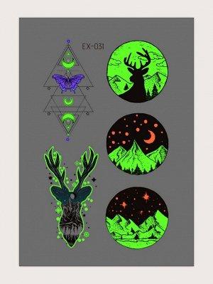 1 лист Светящаяся наклейка татуировки с рисунком оленя