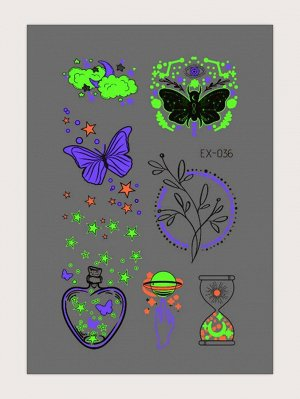 1 лист Светящаяся наклейка татуировки с рисунком бабочки