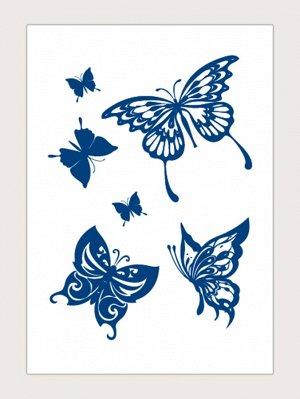 1 лист Наклейка татуировки с узором бабочки