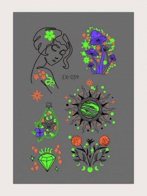 1 лист Светящаяся наклейка татуировки с графическим принтом