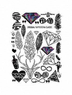 Наклейки татуировки в форме пера и драгоценного камня 1 лист