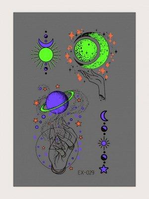 1 лист Светящаяся наклейка татуировки с рисунком луны