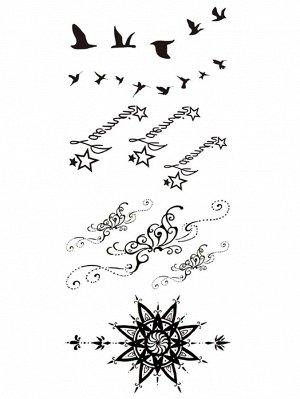 Наклейка татуировка с рисунками птицы и звезды