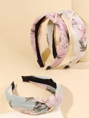3шт ободок для волос с цветочным принтом