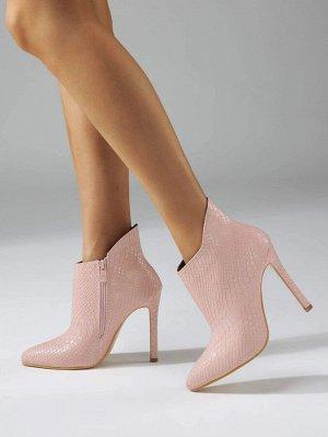 Ботинки на шпильках с крокодиловым тиснением