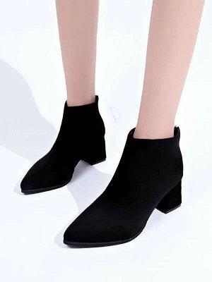 Чёрный Одноцветный Деловый стиль Осенняя/зимняя обувь