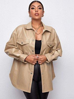 Пальто из искусственной кожи с карманом