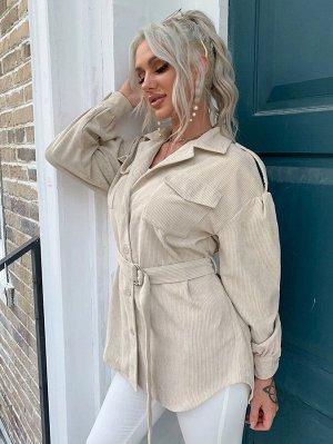 Eilly Bazar Вельветовое пальто с поясом и пуговицами