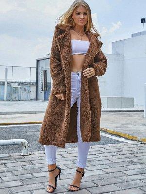 Eilly Bazar плюшевое пальто миди с пуговицей