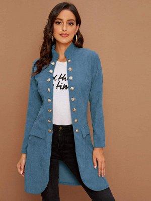 Вельветовое пальто с воротником-стойкой и пуговицами