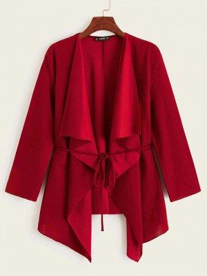 Асимметричное пальто с поясом