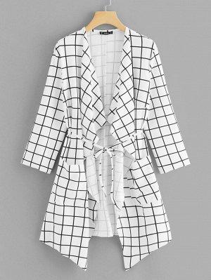 Модное Пальто В Клетку С Увеличенным Струящимся Воротником