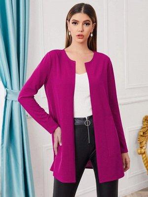 С карманами Одноцветный Элегантный Куртка