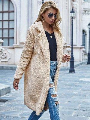 Длинное плюшевое пальто с лацканом