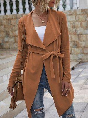 С поясом Асимметричный Одноцветный Повседневный Куртка