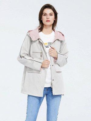 ZIAI Пальто с капюшоном и текстовой лентой