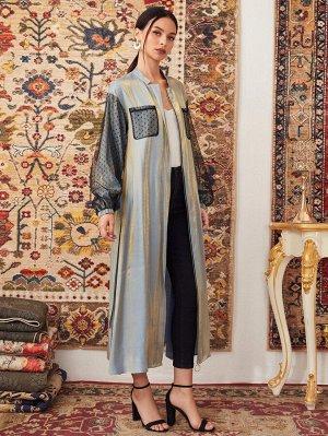 Пальто с сетчатым рукавом и поясом